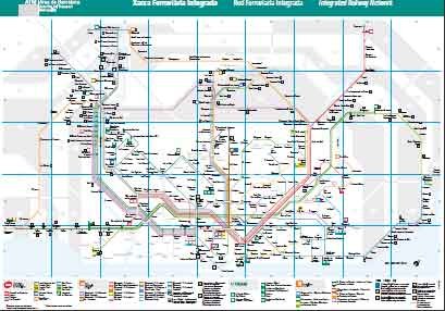 Barcelona wide area Rail map